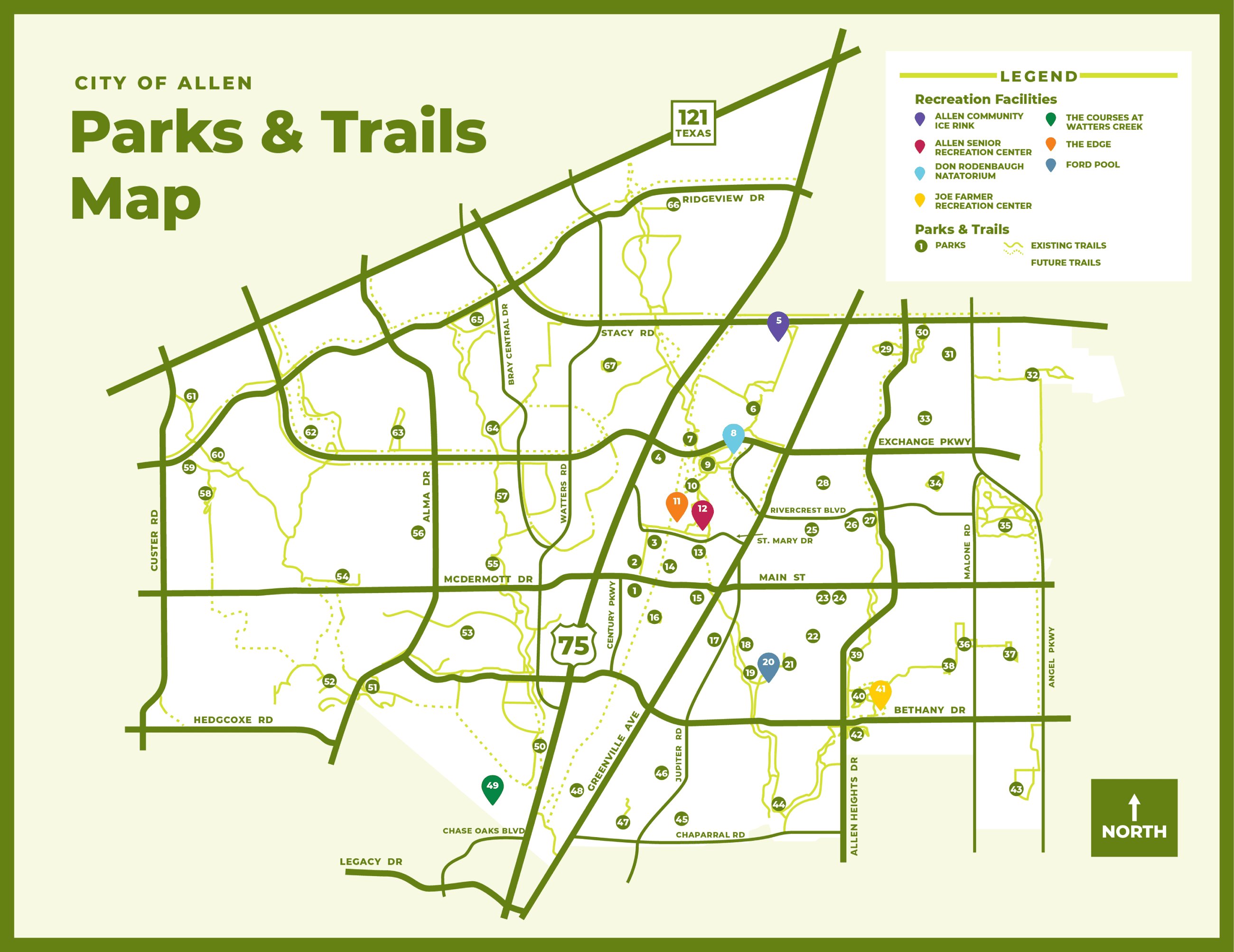 Allen Parks & Trails Map Thumbnail
