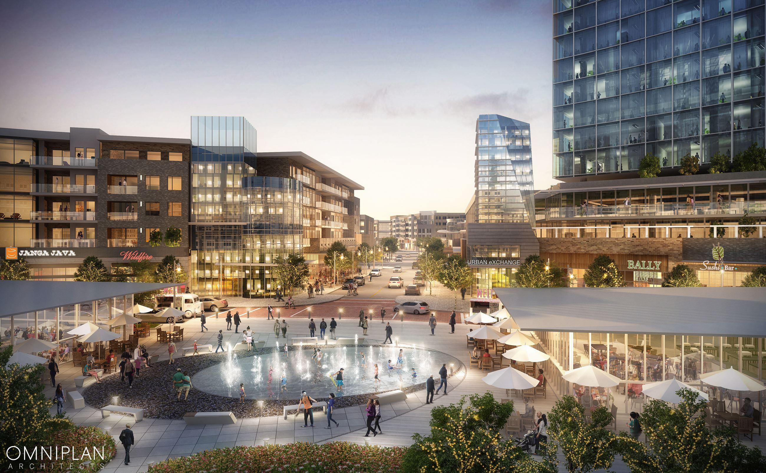 Artist rendering of an urban development with central fountain, park, patio restaurants, office buil