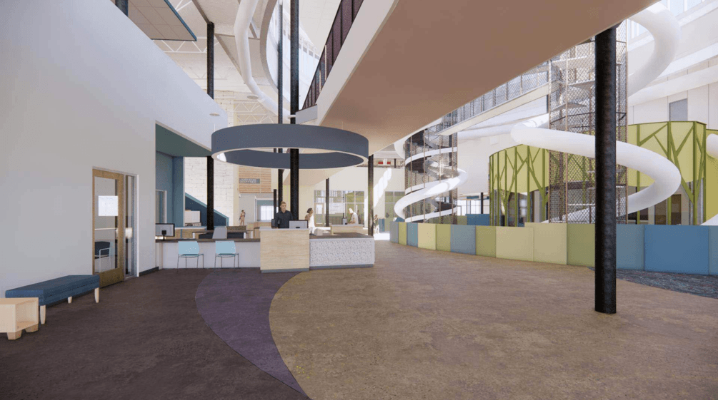 Artist rendering of guest services desk and indoor playground