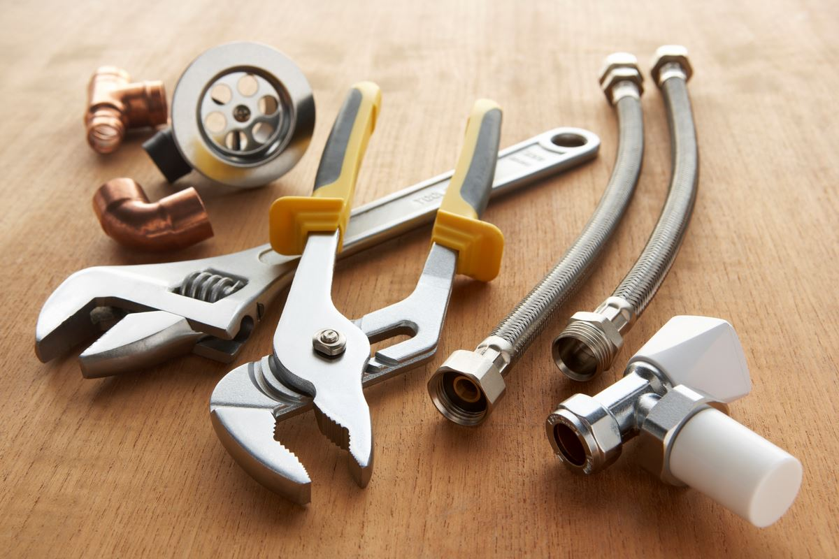 plumbing tools and pipes