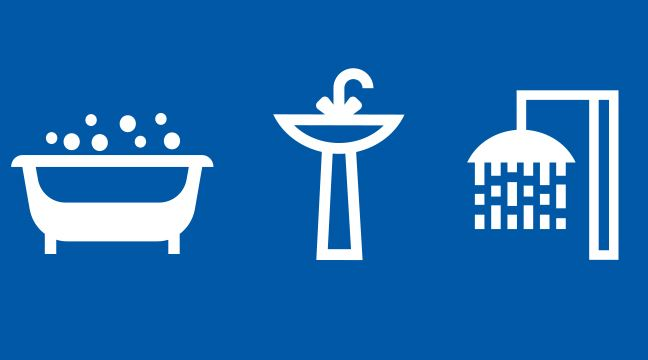white icons of a bathtub, faucet and shower on a blue background
