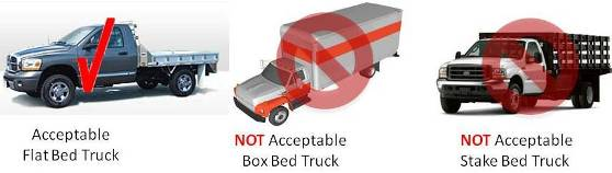 Acceptable Flat Bed Truck, Not Acceptable Box Bed Truck, and Not Acceptable Stake Bed Truck
