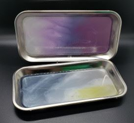 Photo: Resin flow art.  Silver trays with mixed colors.