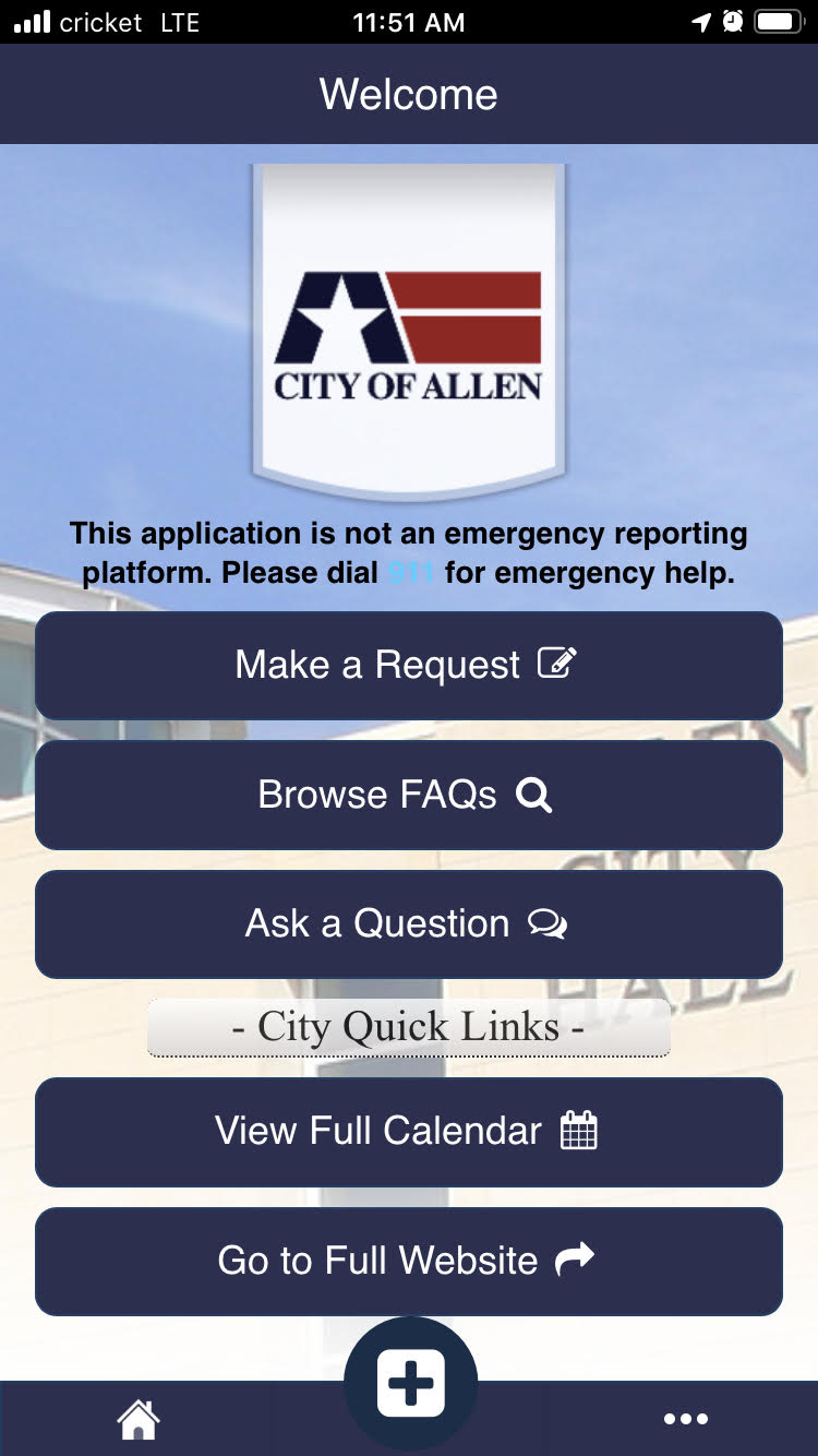 screenshot of the old MyAllen App, which is no longer supported